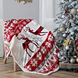 MILDLY Christmas Throw Blanket, Reindeers Red Throw Blanket - Fleece, Plush, Warm, Cozy Fleece Blanket Throw, Holiday Throw Blanket 60 X 80
