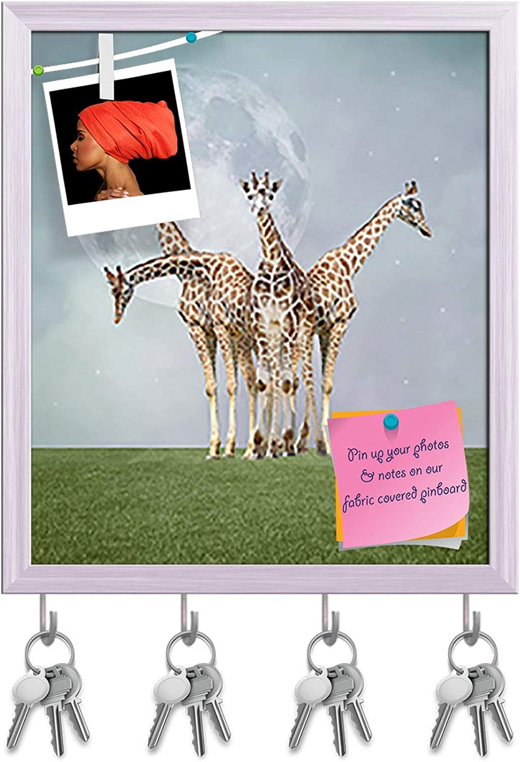 Artzfolio Giraffes Key Holder Hooks   Notice Pin Board   White Frame 16 X 18.5Inch