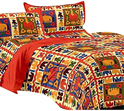 Trade Cart Comfort Cotton Bedsheet for Double Bed with 2 Pillow Covers (Orange ,Pack of 1)
