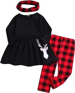 Toddler Girls 3 Pc Hi Lo Christmas Holiday Ruffle Tunic Outfit, Scarf,Buffalo Plaid Deer Dress and Ruffle Bottom Leggings