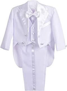 Dressy Daisy Baby Boys' Classic Tuxedo With Tail 5pc Set Wedding Outfits 039