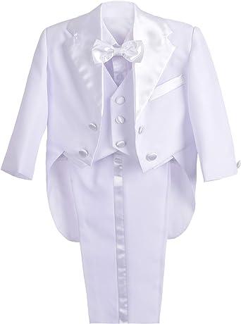 Lito Angels Conjunto de 5 piezas para bebé, diseño de esmoquin formal, para boda, para niño, chaqueta, camisa, chaleco, pantalones, pajarita, ...