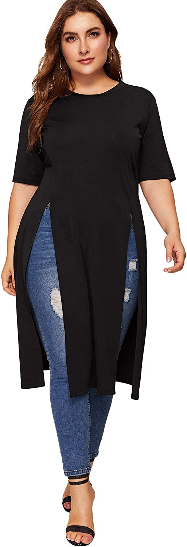 Romwe Women's Casual Plus Split Longline Short Sleeve Round Neck Tee Shirt Tunic