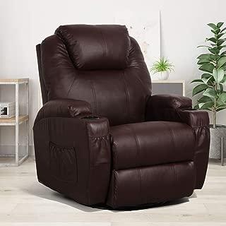 Esright Massage Recliner Chair Heated PU Leather Ergonomic Lounge 360 Degree Swivel, Brown