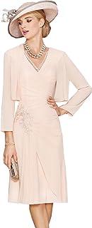 7c6f570e3d11 dressvip Abito rosa con scollo a V, abito formale in chiffon con giacca a  maniche