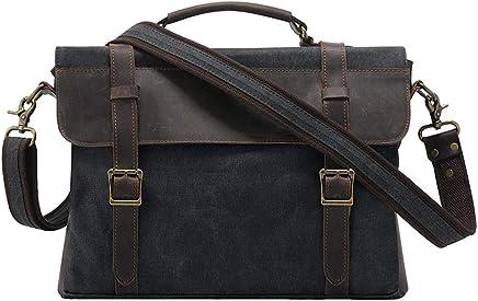 ROCKCOW Canvas Leather Travel Bag Briefcase Messenger Shoulder Bag Dufulle Bag (02# Gray #
