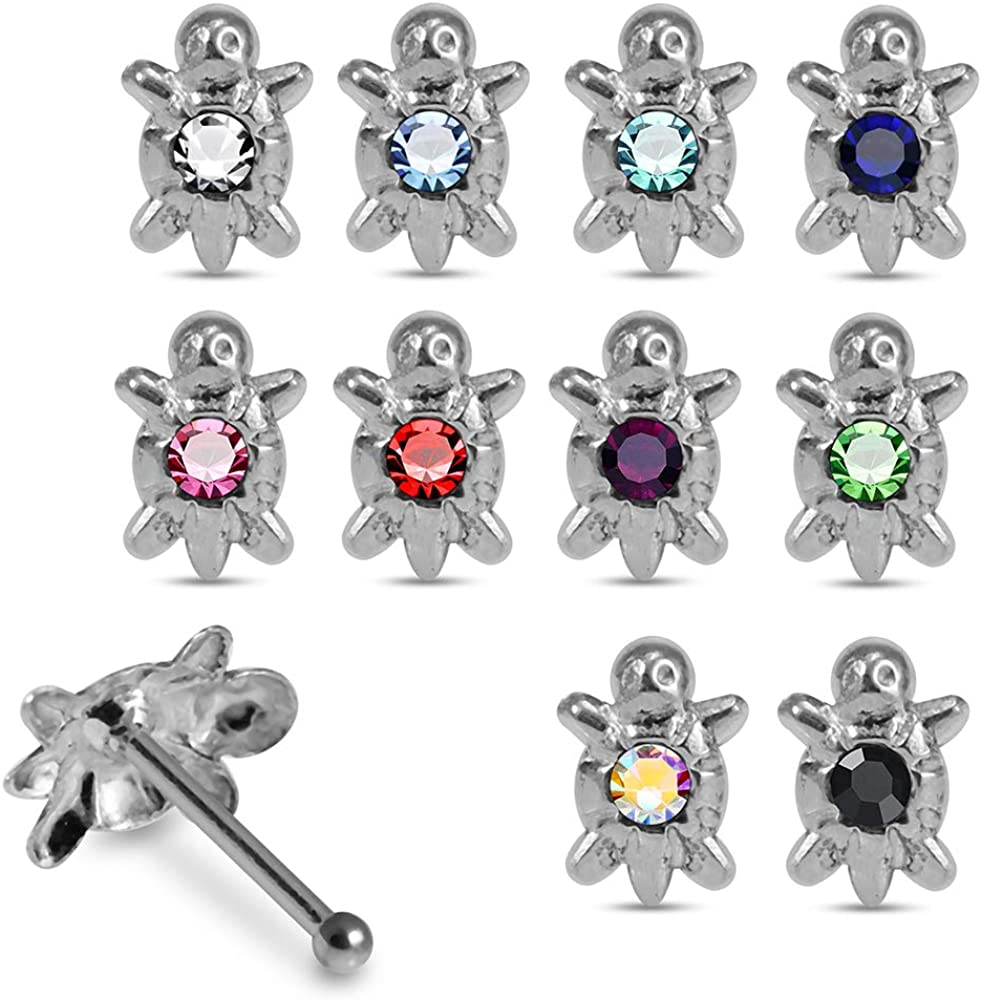 20 Pieces Ultra-Cheap Deals Mixcolor Jeweled Turtle Pin. Silver 925 Popular standard Nose Sterling