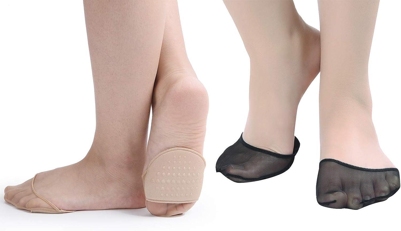Flammi 6 Pairs Women's Toe Cover with Padding Toe Topper Liner Socks Non-Skid Bottom