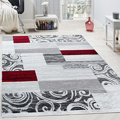 Paco Home Designer Teppich Wohnzimmer Inneneinrichtung Floral Muster Meliert Hell Grau Rot, Grösse:240x340 cm