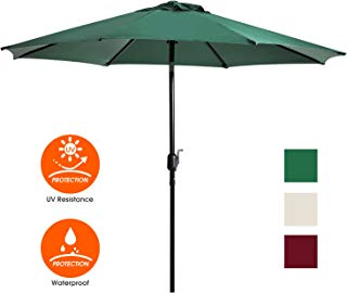 UHINOOS 9 ft Patio Umbrella,Outdoor Umbrella with Crank and 8 Ribs, Polyester Aluminum Alloy Pole Tilt Button Outside Table Umbrella, Fade Resistant Water Proof Patio Table Umbrella (Green)