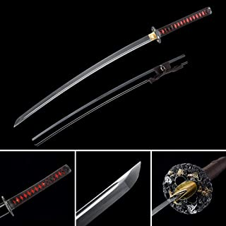 LQDSDJ Ultra Sharp Samurai Sword, Traditional Handmade Samurai Katana Sword Features of 1060 Carbon Steel, Damascus Folded Steel, T10 Steel, Hadifield Steel