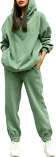 Fixmatti Women Hoodies Tracksuit Long Sleeve Crop Top Jogger Pants 2 Piece Outfits