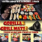 GORILLA GRILL MATS Huge Double Sized 16x26, Twice as Thick,...