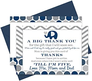 Navy Elephant Baby Shower Thank You Cards and Blue Envelopes (Set of 15) Little Peanut Theme