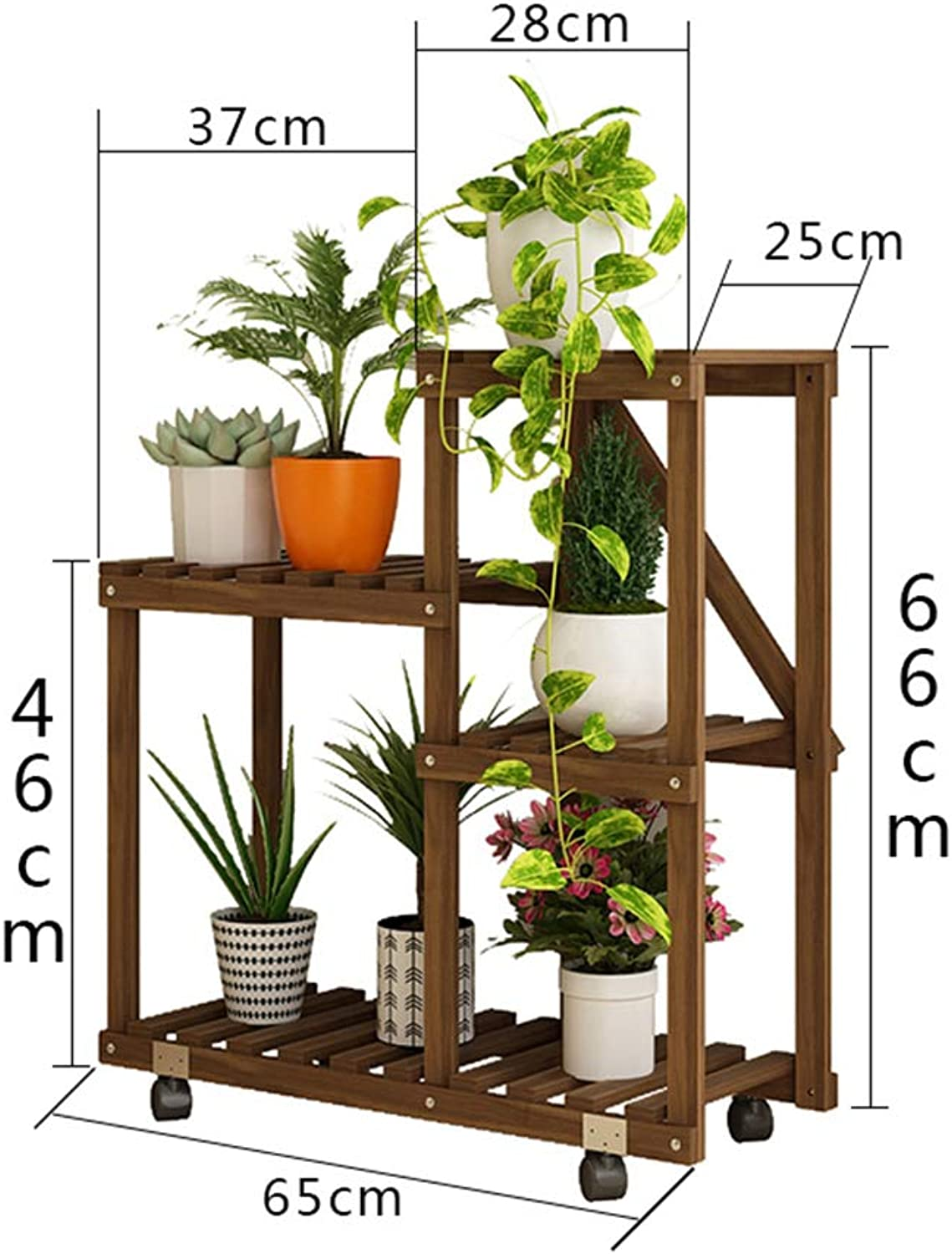 Flower Stand Plant Shelf Multi-Layer Wood Shelf Bonsai Display Stand Indoor Outdoor Garden Garden Patio Balcony Multi-Function Storage Shelf Bookcase with Hollow Frame (color   A)