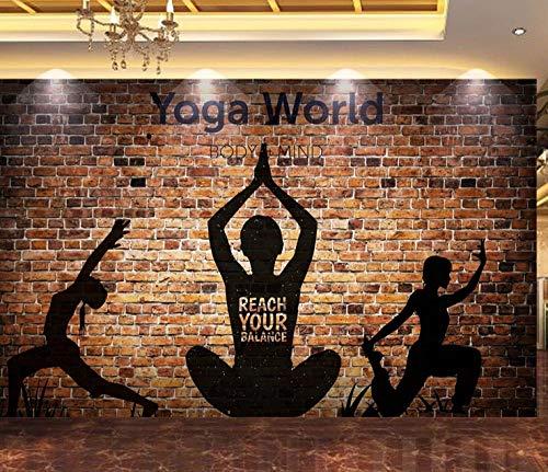 FVeng LIN Carpet Tapete 3D Brick Wall Silhouette Yoga Arbeitskleidung Poster Picture Gym Yoga Room Wandbild Bekleidungsgeschäft Dekoration Wandtattoo-250cmx175cm