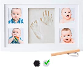 Baby Handprint Kit by Little Hippo |Deluxe Size + NO Mold| Baby Picture Frame & Non Toxic Clay! Baby Footprint kit, Perfect for Baby Boy Gifts, and Baby Girls Gifts! (White, Deluxe)