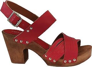 Silfer Shoes - Made in Italy- Zoccolo in Vero Legno di Vera Pelle Nappa Colore Rosso Tacco cm 7 Artigianato Italiano