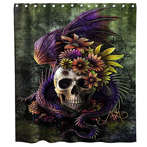 Lifeasy Lila Drachen & Blumen umschließen den Sugar Skull Duschvorhang Tuch Stoff Badezimmer Dekor Set mit Haken Wasserdicht Waschbar 182,9 x 182,9 cm Grün Gelb