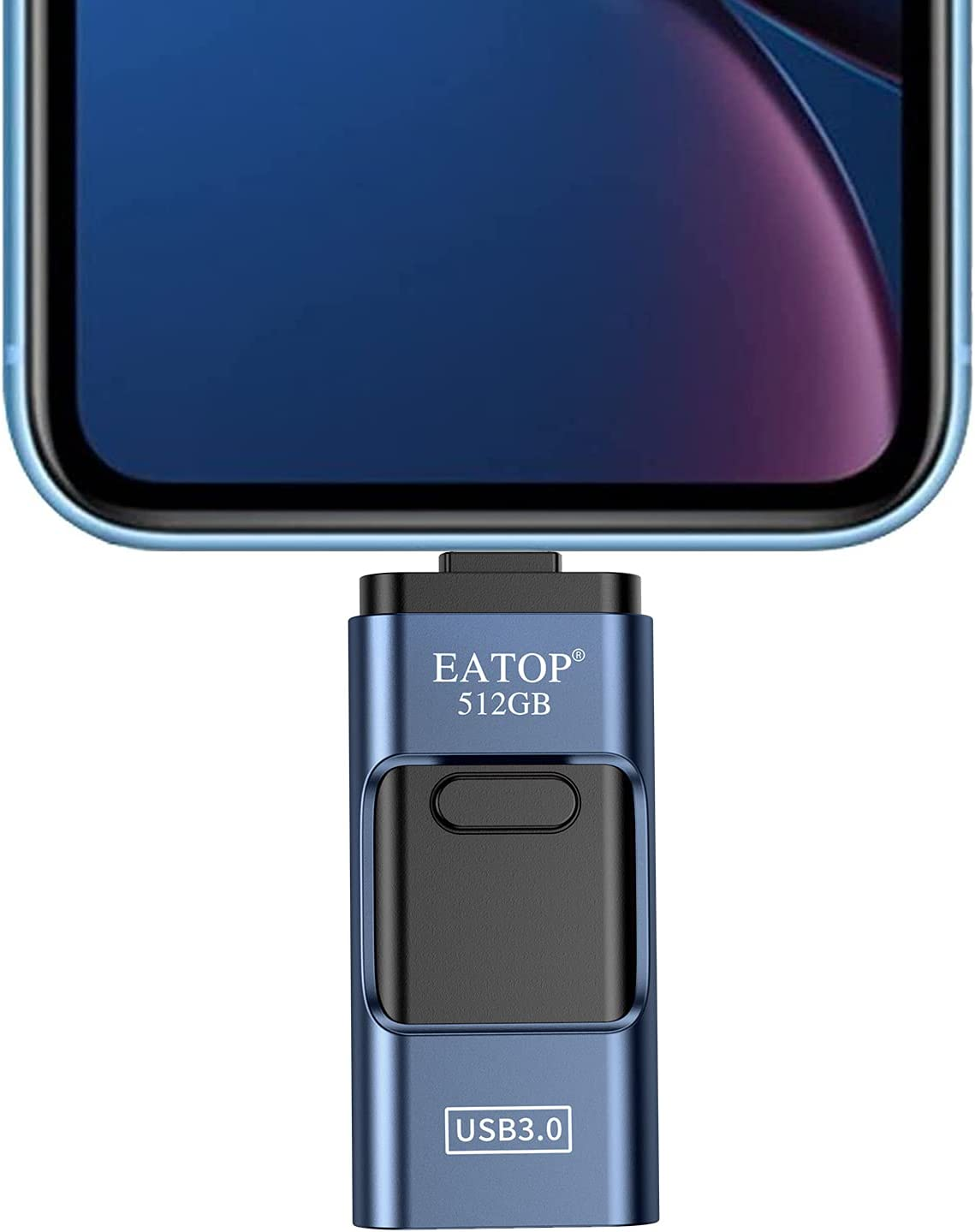 EATOP USB3.0 Flash Drive 512GB, USB External Storage Memory Stick Thumb Drive Photo Stick Compatible with iPhone, Android, Computers (Dark Blue)