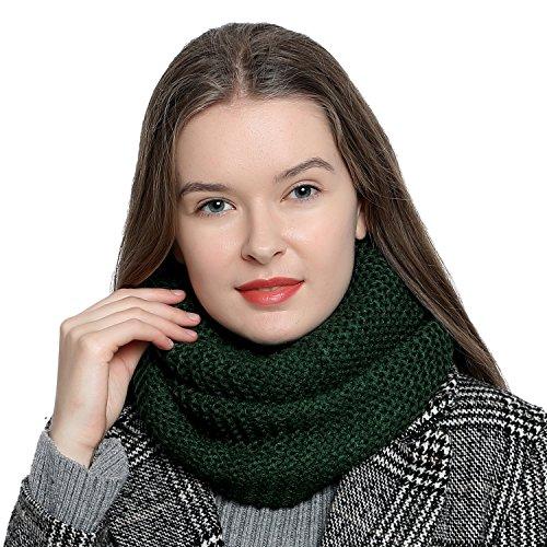 Bufanda de lana de invierno tipo cuello suave y cálida para mujer con diseño de punto - Verde