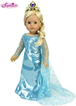 Sophia's 18 Inch Doll Dress Gown Includes Cape & Crown to fit American Dolls & More Ice Princess Dress with Sparkle Cape & Gold Tiara