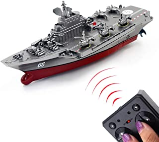 Tipmant Mini Military Remote Control Aircraft Carrier Model RC Boat Ship Speedboat Yacht Electric Water Toy - Silver (2.4 ...