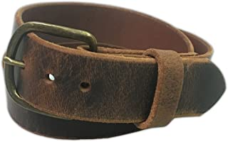 Men's Distressed Jean Belts, Crazy Horse Water Buffalo Leather, 9 Ounce - Antique Belt Buckle - Handmade in the USA By Exos