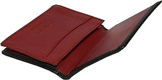 Laveri Genuine Leather Credit Card Holder Wallet Unisex Bill and Card Holder - Leather, Black and Red