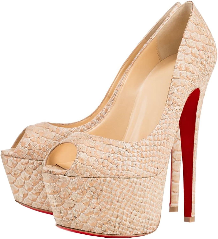 TDA Women's Peep Toe Platform Distressed Snakeskin PU Evening Party Dress Sexy Stiletto shoes