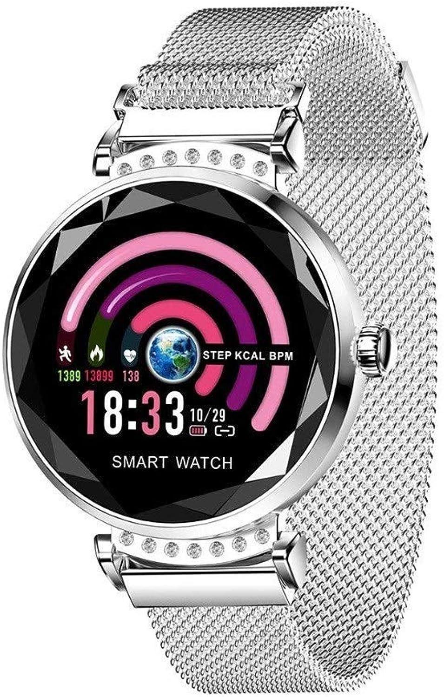 C-Xka Damen Smart Watch, Mode Herzfrequenz Blautdruck Aktivitt Fitness Tracker (Farbe   Silber)