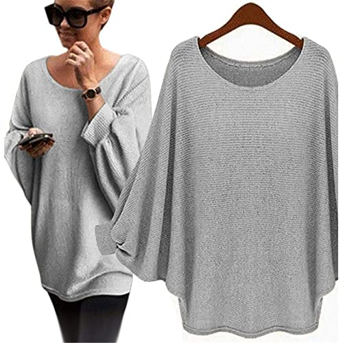 a0c0af7cf8b269 Mumustar Women Oversized Batwing Sweaters Jumpers Fine Knitted Pullover  Loose Long Blouse Tops Shirts for Ladies