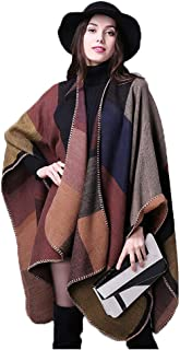 Women's Color Block Shawl Wrap Plus Size Cardigan Poncho Cape Open Front Long Winter Sweater Coat