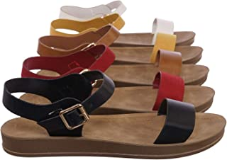 Rubber Open Toe Ankle Strap Sandal - Women Comfort Soft Flexible Flats