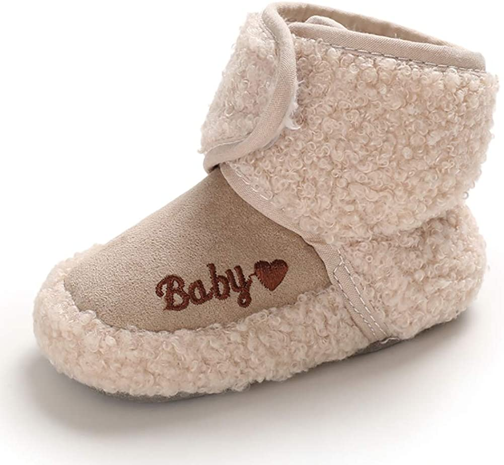 Meeshine Toddler Baby Anti-Slip Soft Sole Booties Cozy Fleece Infant Winter Slippers Shoes