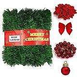 HONGDDY 21 Metros Guirnaldas de Navidad, Decoración Abeto, Corona Navideña Guirnalda Larga Verde, Decoración de Árbol de Navidad, para Fiesta con 36 Arcos y 24 Bolas, Pino de Navidad Artificial