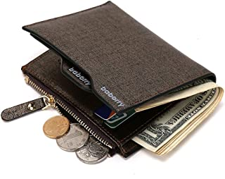Classic Genuine Leather PU bailini men wallet short for men casual wallet bag ostrich button clutch purse leather cheap price