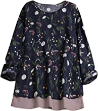 Vintage Retro Boho Floral Top Tee T Shirt Loose Plus Size BlouseWomen