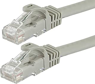 Monoprice Flexboot Cat6 Ethernet Patch Cable - Network Internet Cord - RJ45, Stranded, 550Mhz, UTP, Pure Bare Copper Wire, 24AWG, 7ft, Gray