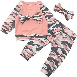 Baohooya Tuta Bambina Ragazze 1-4 Anni,Completino Bambino Ragazza 2 Pezzi Pigiama Tute Maglietta con Pizzo Pantaloni Set Caldo Manica Lunga Romper Pigiama Vestiti Abiti Set