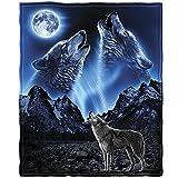 Dawhud Direct Wolves Howling Moon Super Soft Plush Fleece Throw Blanket