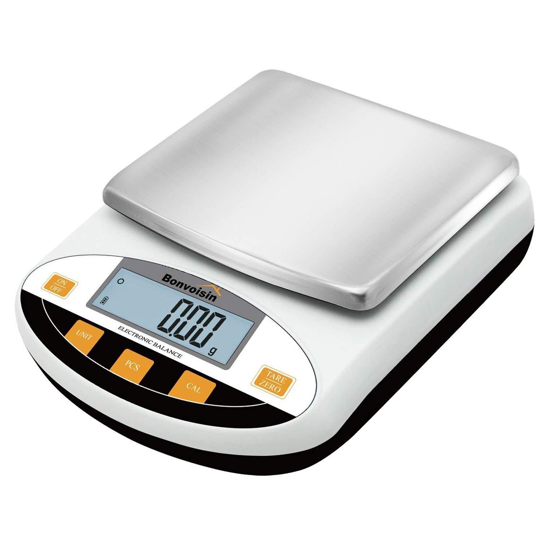 Bonvoisina 0.01g Balanza de Laboratorio Báscula Analítica de Precisión Digital Electrónica de Alta Precisión Balanza de Joyería Cocina Balanza Científica 10mg Legibilidad (2000gx0.01g)