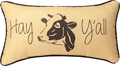 Manual Woodworkers SHHAYY Hay Y'all DTP Throw Pillow, 17 x 9 inch, Brown