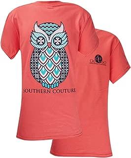 SC Classic Geo Owl Womens Classic Fit T-Shirt - Coral Silk