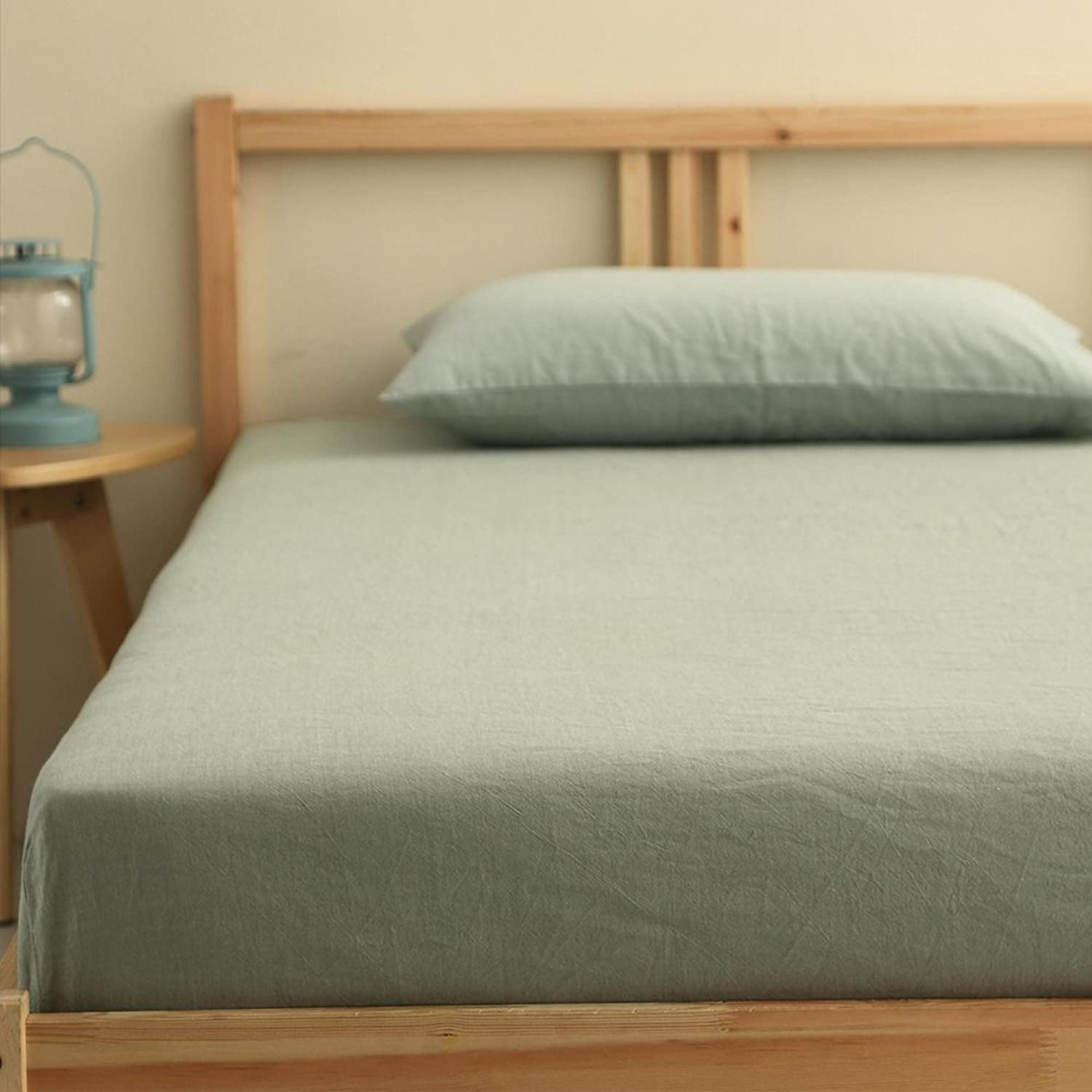 Yazi Flat Sheet (Green Solid, King) 100% Cotton Premium Quality Combed Cotton Long Staple Fiber 95Inches x 98Inches