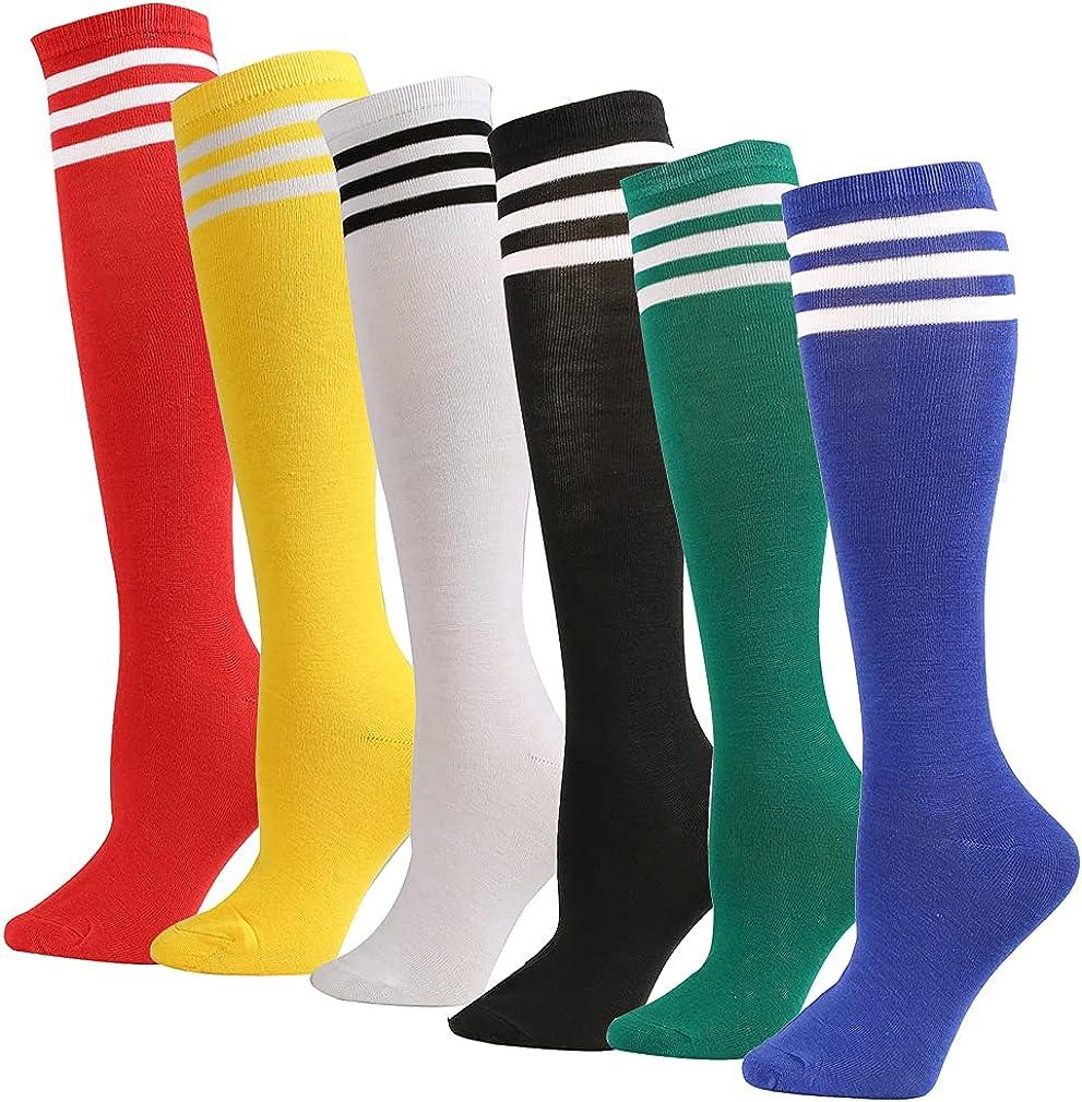 6 Pairs Stripes Knee High Tube Socks Colored Knee Soccer Socks