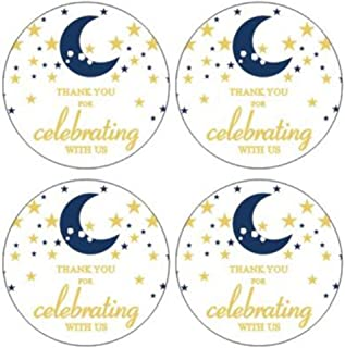 """2"""" Round 50 Pack Twinkle Twinkle Litter Star Label Stickers Thank You Birthday Party Sticker Labels Candy Stickers for Bir..."""