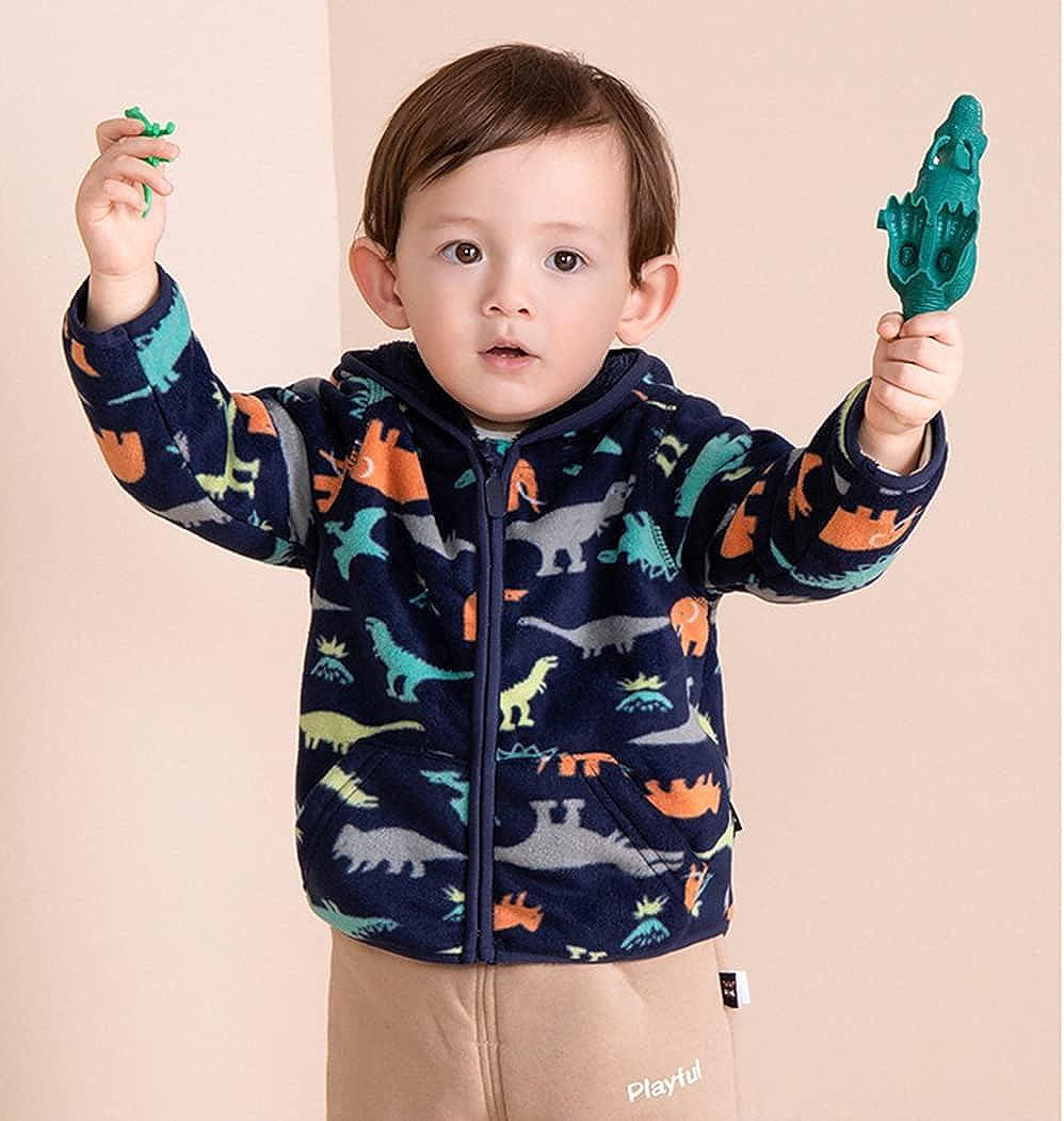 Feidoog Toddler Polar Fleece Jacket Hooded Baby Boys Girls Autumn Winter Long Sleeve Thick Warm Outerwear