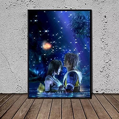 Liuqidong Póster de Lienzo Final Fantasy X Tidus y Yuna Art para Sala de Estar Impresiones Carteles Arte de Pared decoración del hogar 60x90cm