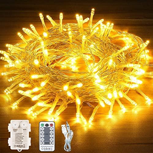 SUWITU Lichterkette Batterie, 13M 120 LED Lichterkette 8 Modi Warmweiß Lichterkette außen/innen, Wasserdichte IP65 mit Fernbedienung und Timer für Balkone, Gärten, Weihnachten, Partys, Hochzeiten